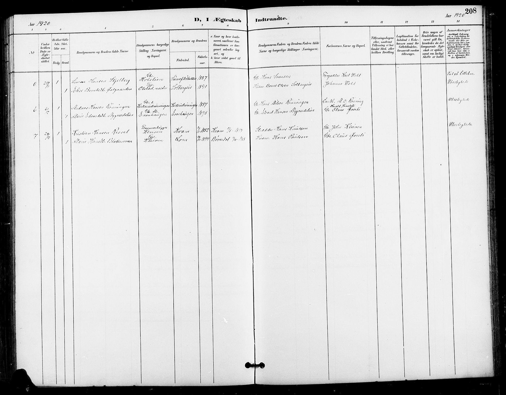 Oppland fylke, Nykirke i Vestre Gausdal, Klokkerbok nr. 3 (1896-1925), Ekteviede 1920, side 208.