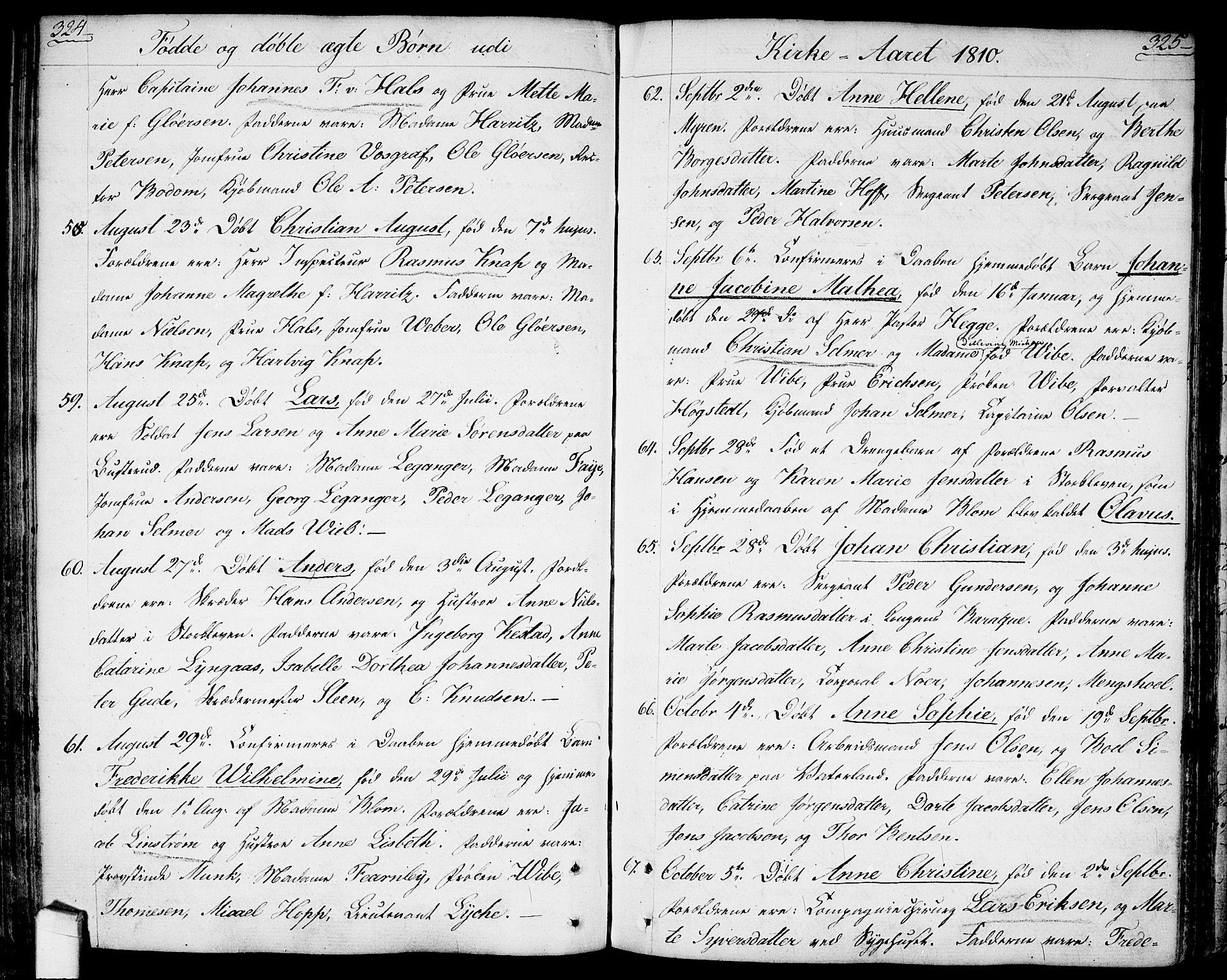 Fødte og døpte 1810, side 324-325.