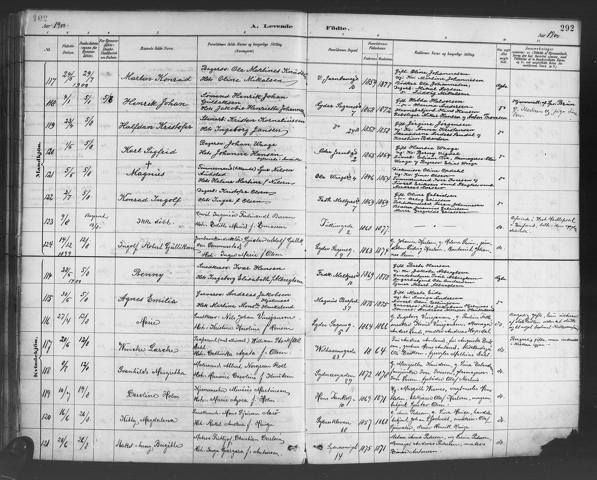 Fødte og døpte 1900, side 292.
