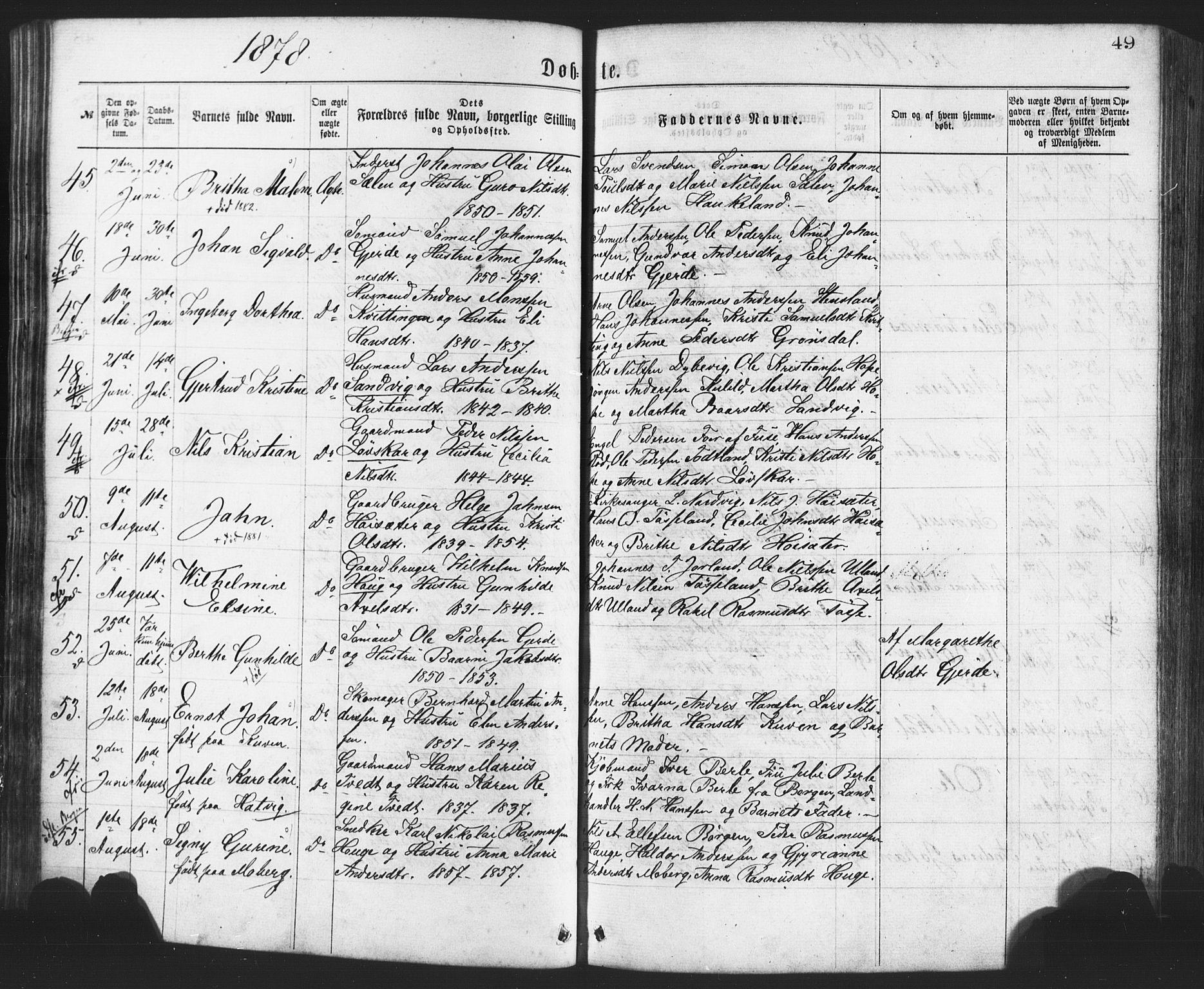 Fødte og døpte 1878, side 49.