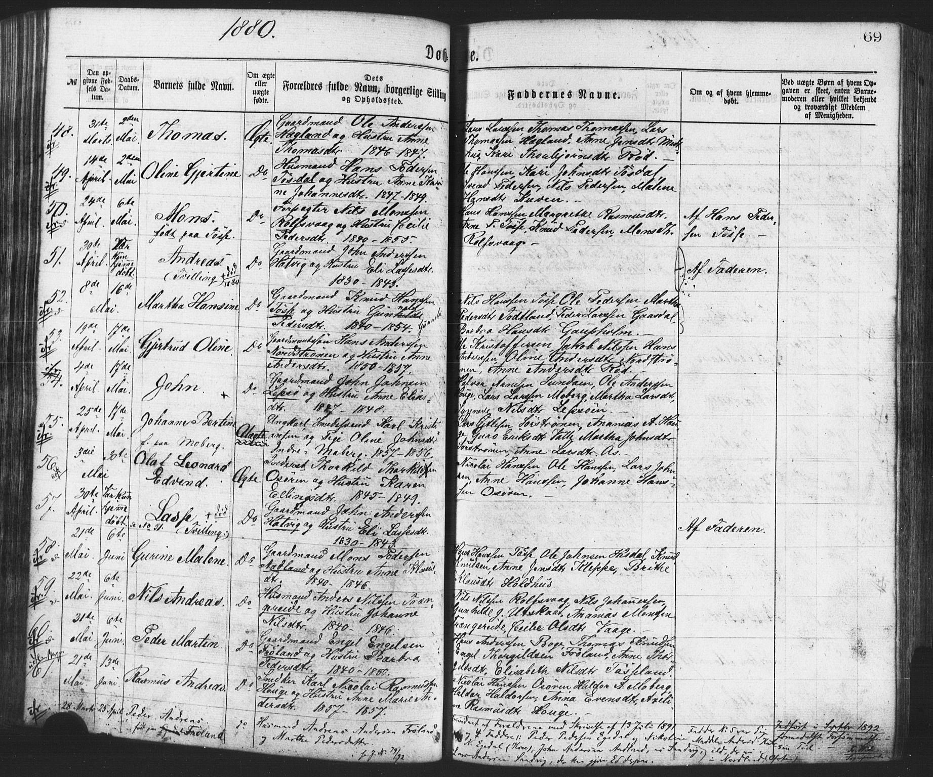 Fødte og døpte 1880, side 69.