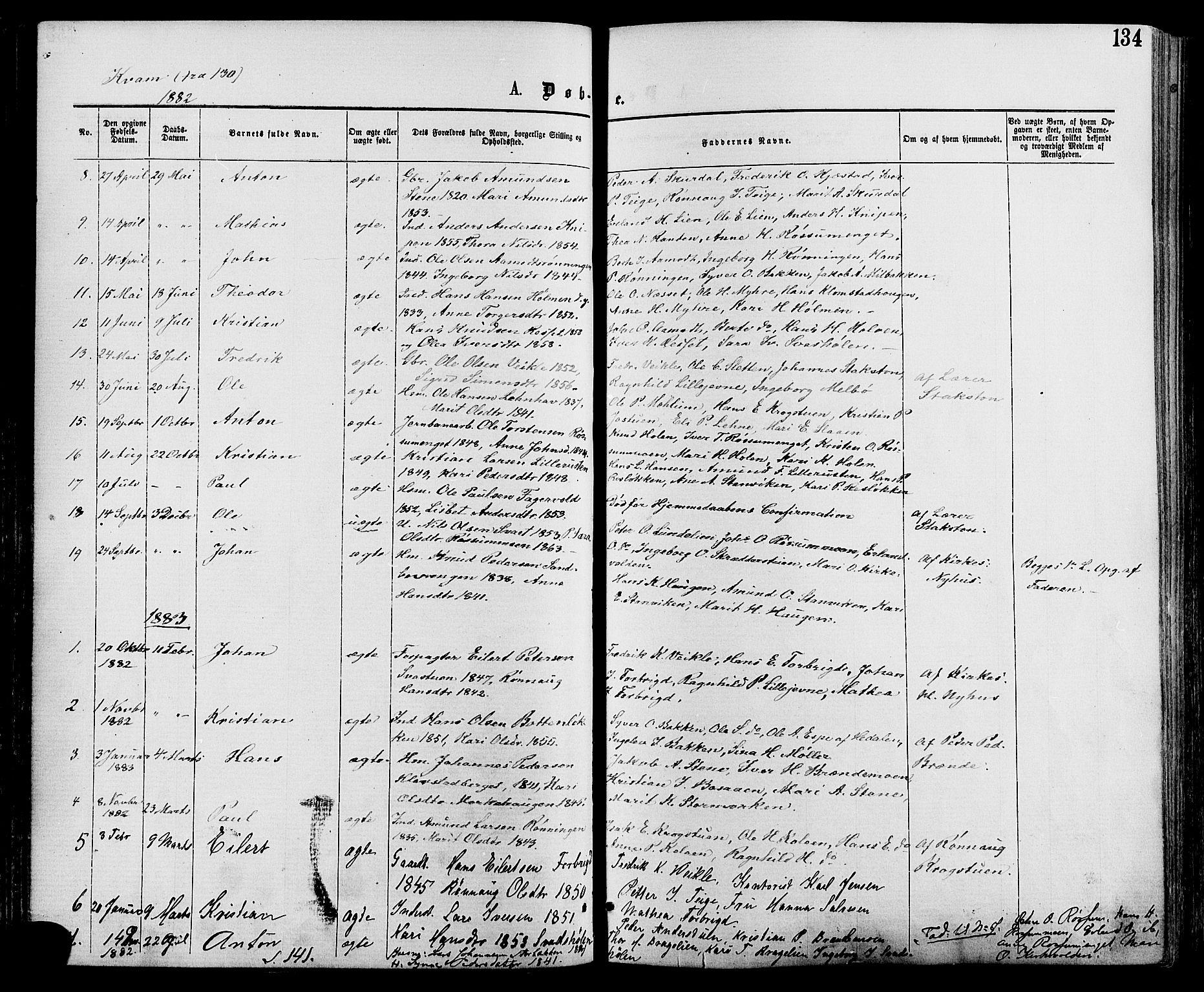 Oppland fylke, Nord-Fron, Ministerialbok nr. 2 (1865-1883), Fødte og døpte 1883, side 134