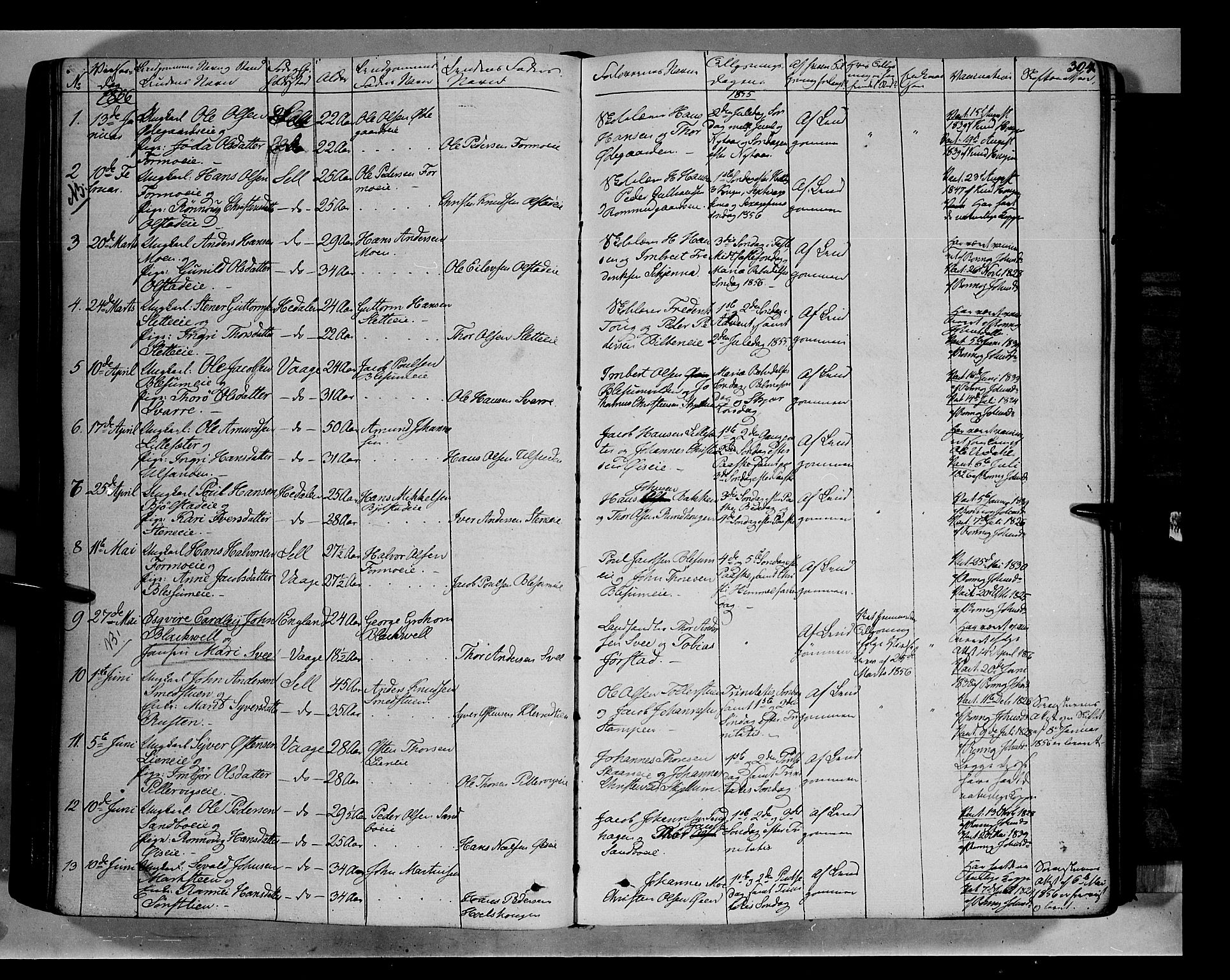 Oppland fylke, Vågå i Vågå, Ministerialbok nr. 5 /1 (1842-1856), Ekteviede 1856, side 304.