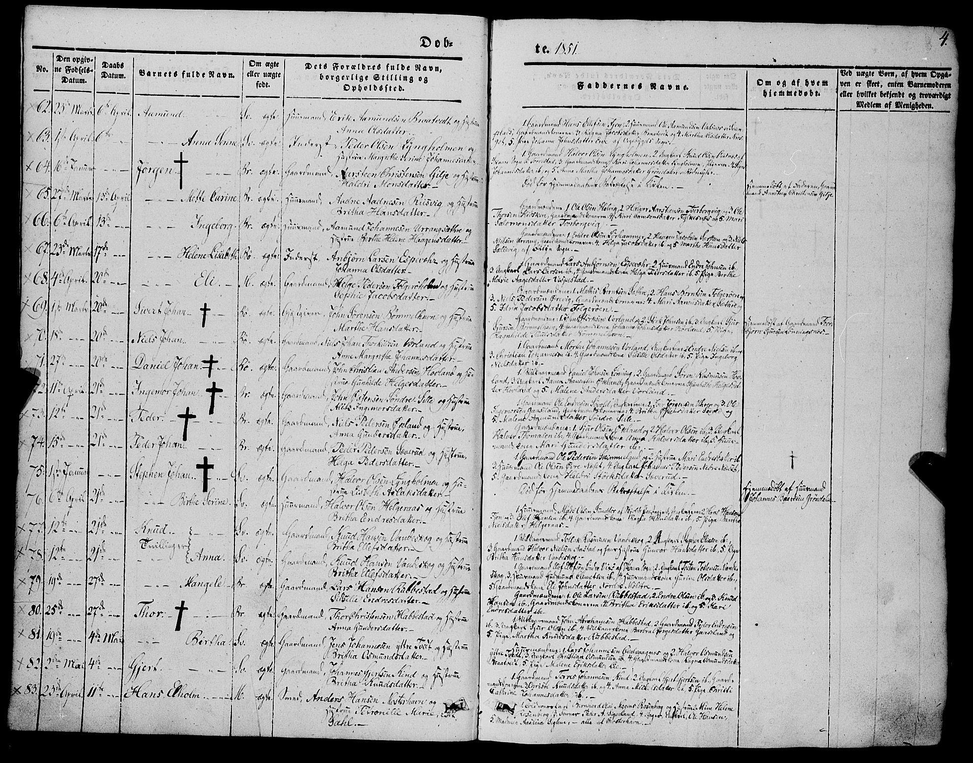 Fødte og døpte 1851, side 4.