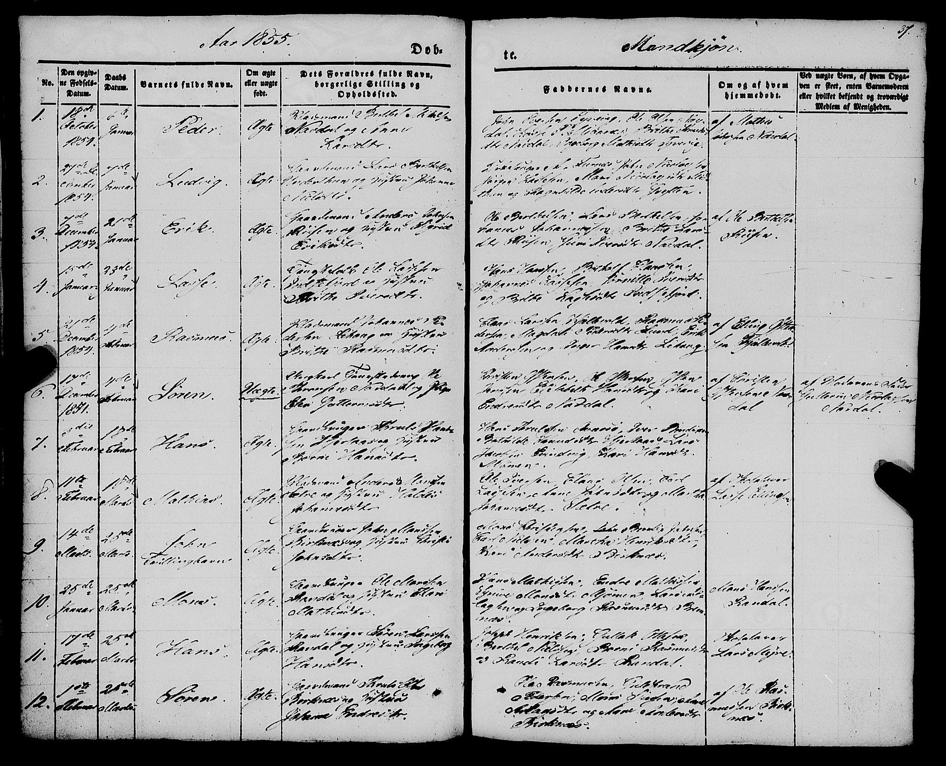 Fødte og døpte menn 1855, side 37.