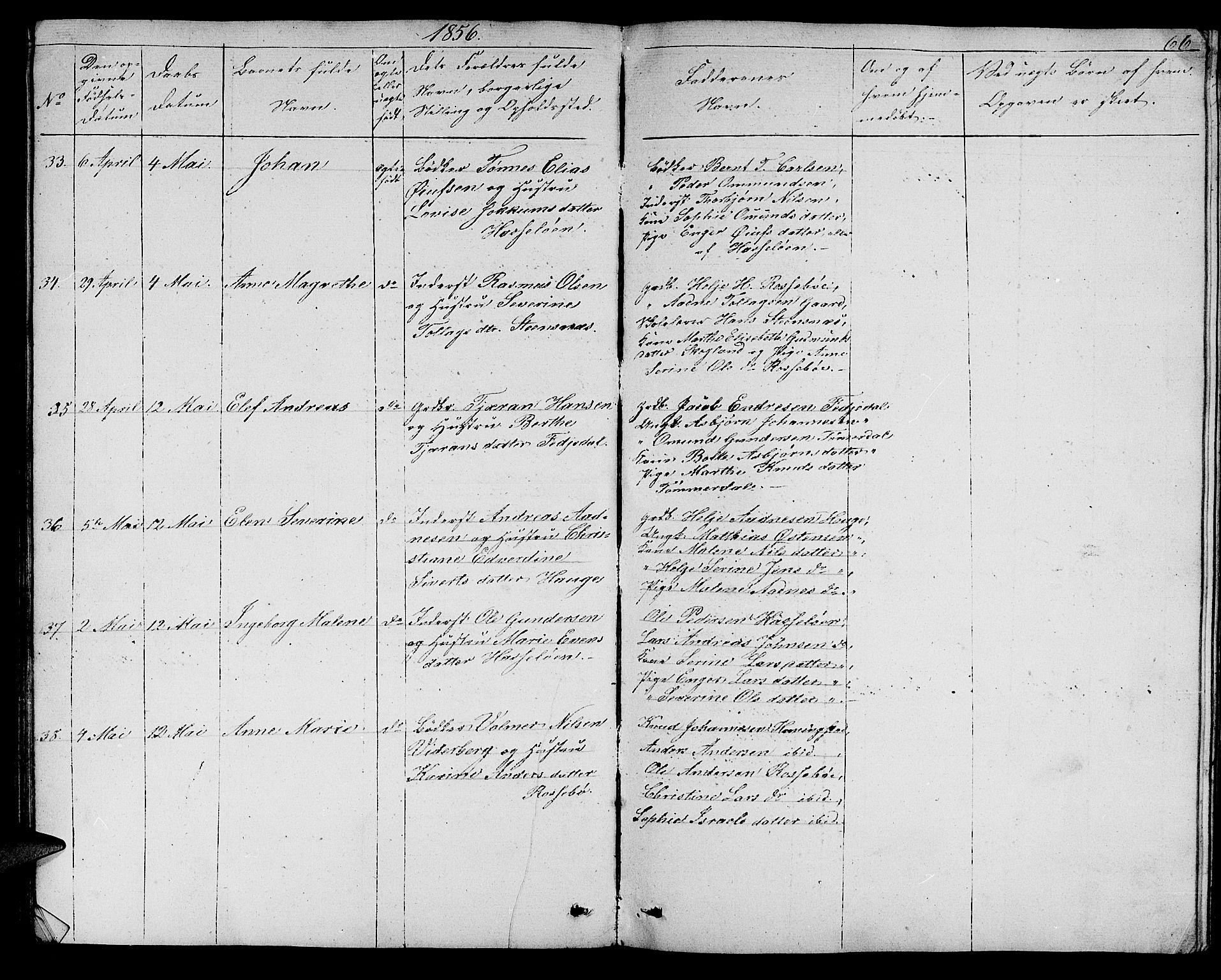 Rogaland fylke, Skåre i Torvastad, Klokkerbok nr. B 4 (1850-1864), Fødte og døpte 1856, side 66.
