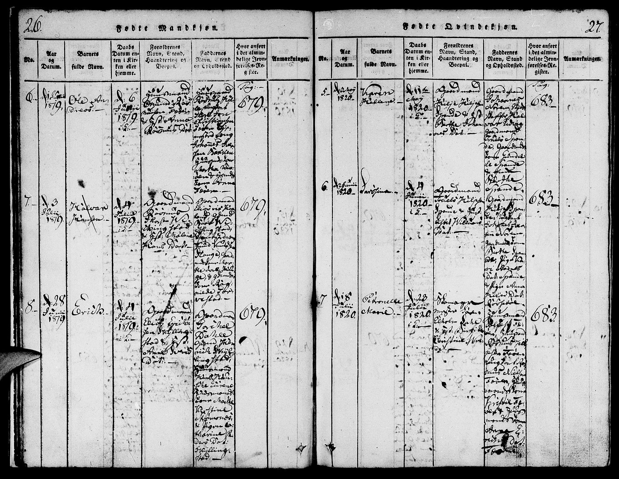 Fødte og døpte 1820, side 26-27.