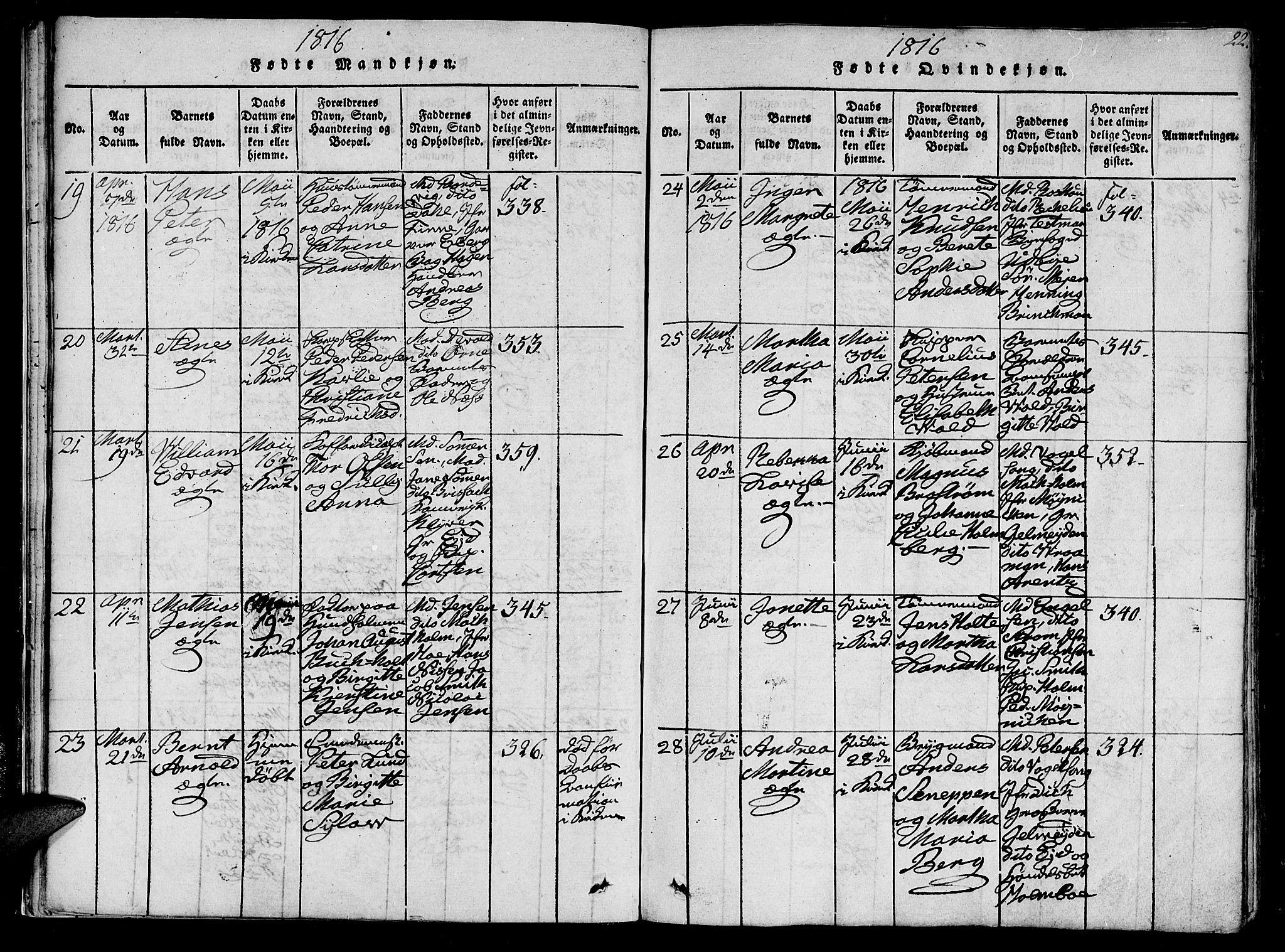s. 22 i Ministerialbok nr. 602A05 (1815-1821) for Vår Frue i Trondheim